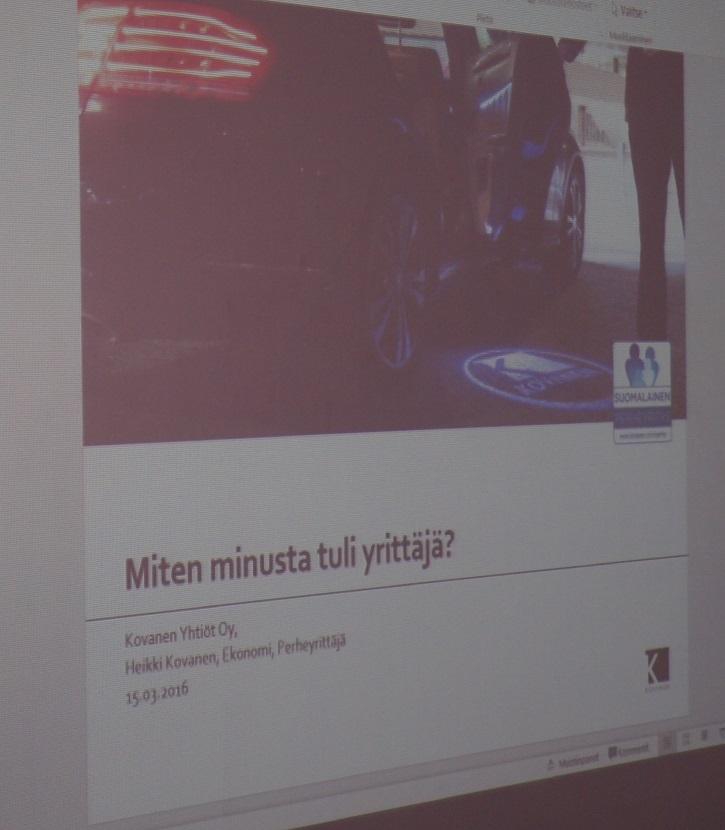 Kovanen oy:n toimitusjohtaja Heikki Kovanen kertoi meille elämäntarinansa avulla yrittäjyydestä